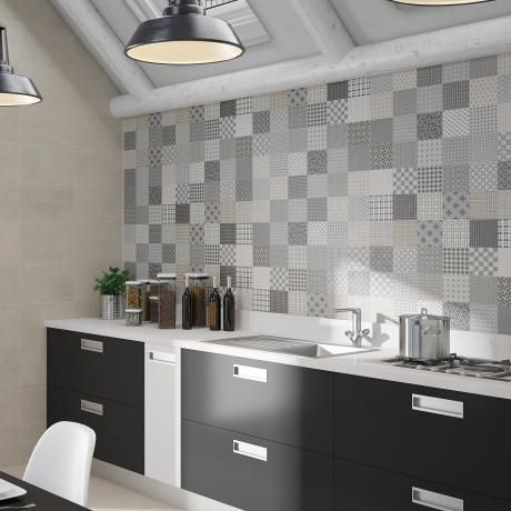 redcliffe patchwork decor grey ceramic kitchen tiles wall tiles s