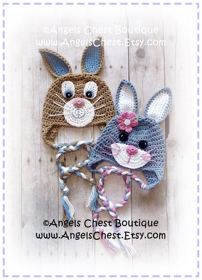 Ravelry: Cute Crochet Rabbit Bunny Beanie Earflap Hat PDF Pattern Sizes Newborn to Adult Boutique Design - No. 59 by AngelsChest pattern by Mary Angel Morris