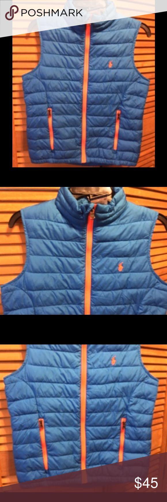 Ralph Lauren Horizon Blue Vest Horizon blur vest with fluorescent orange zippers and pony logo. Youth medium (10-12). 100% polyester Lining 100% nylon Filling 100% polyester. NWT (new with tag). Ralph Lauren Jackets & Coats Vests