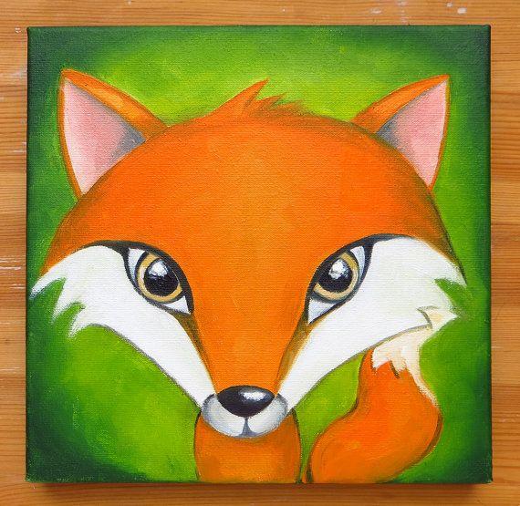 Fox Portrait Original Art Orange Wild Animals Foxy by MikiMayoShop