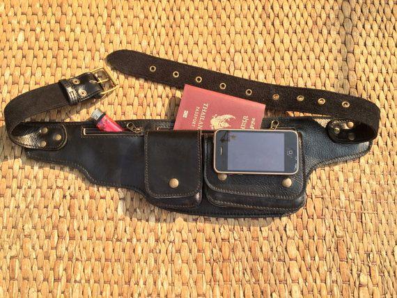 Leather Pocket Utility Belt Bag -The Explorer - Black -Passport Holder, Iphone case,Steampunk, Festival, Travel, Fanny Pack, Burning Man