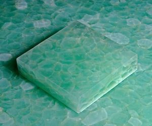 """Glass and Glass is going green with their latest collection, GeoGlass, made with 95% recycled glass. The tiles are 24"""" x 24"""" and each tile contains 21 pounds of glass that otherwise would have gone into the landfills. These handsome tiles are perfect for countertops, floors and walls."""