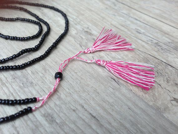 Black and Pink Long Tassel Necklace Red White by PiscesAndFishes