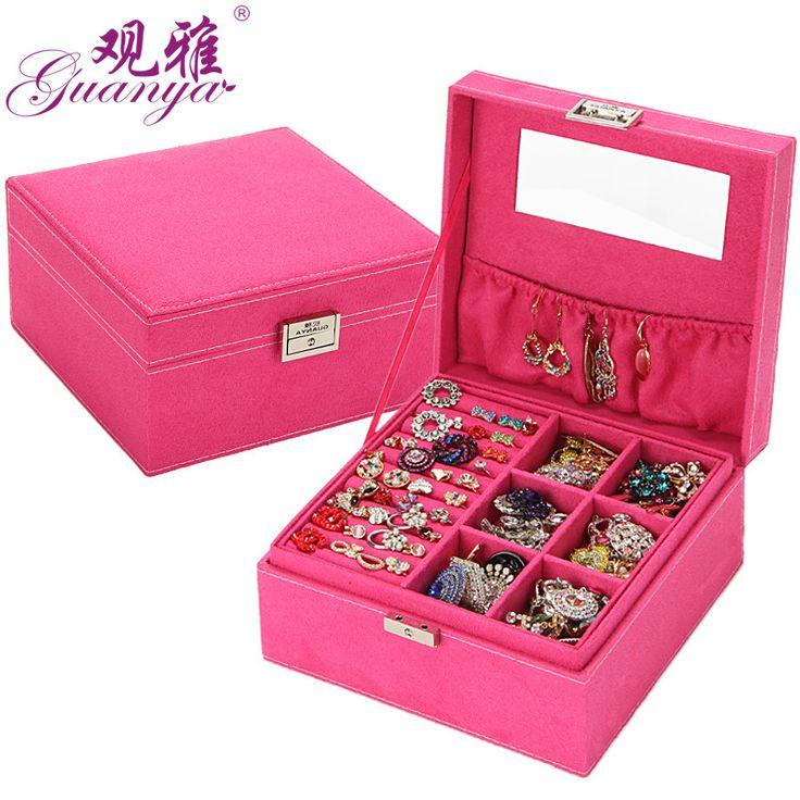 Novas mulheres de veludo de alta qualidade duas camadas colar anéis etc maquiagem Cubo organizador de exibição de jóias/caixas de jóias para meninas B013 em Jóias Embalagens & Display de Jóias & Acessórios no AliExpress.com | Alibaba Group