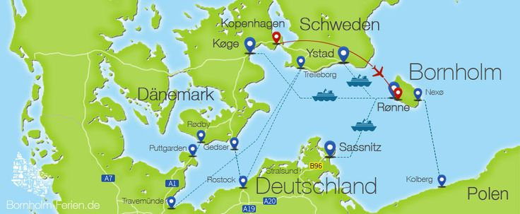 Anreise nach Bornholm - Getting to Bornholm - Kom til Bornholm #anreise #bornholm #auto #bahn #reise #fähre #flugzeug #karte #infografik #travel