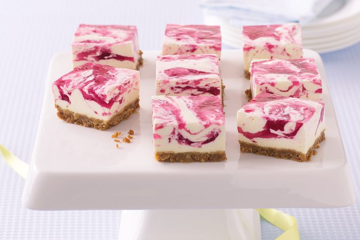 This cheesecake slice looks beautiful with the pink swirls and is low-fat so you can have a second helping too.