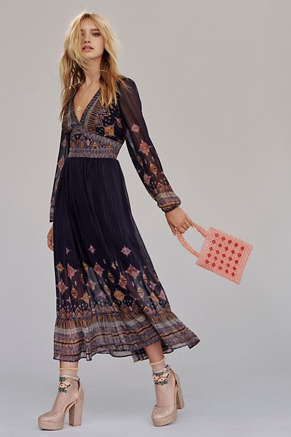 Wishing Well Midi Dress - Long Sleeve V-Neck Navy Blue Midi Dress with  Floral Sleeves and Hem - Boho Dresses - Free People Boho Dresses - Maxi  Dresses 71233a132111