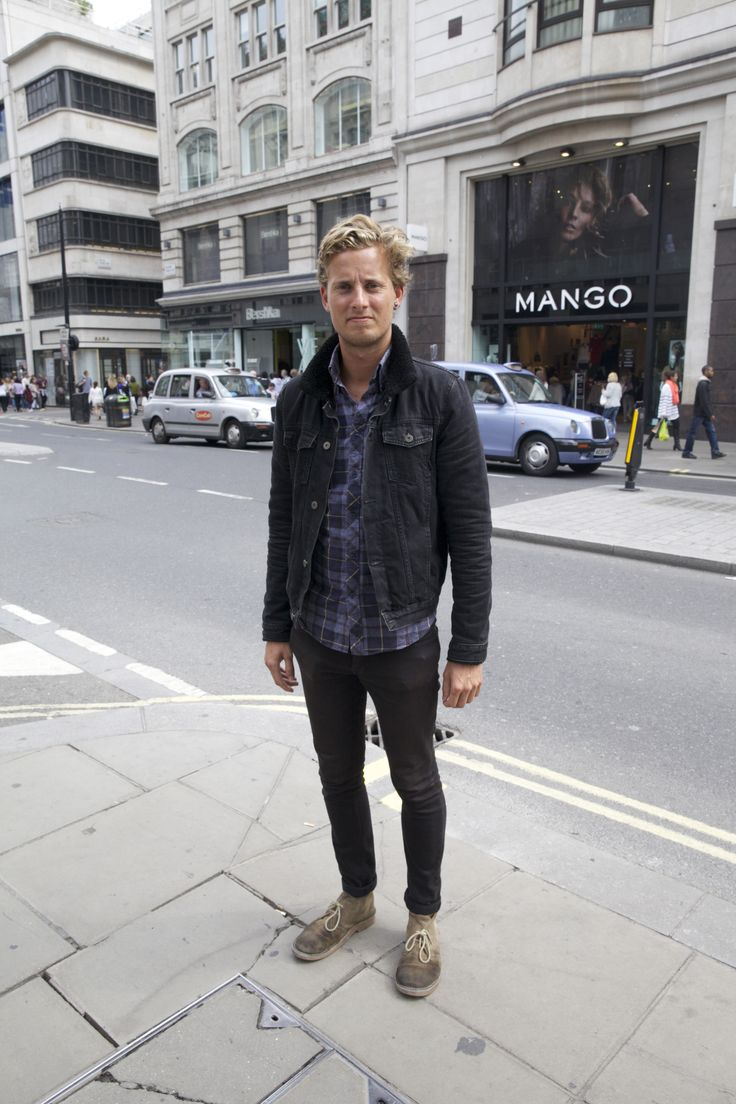 Street Style - Shop the look: http://www.topman.com/en/tmuk/product/clothing-140502/mens-coats-jackets-140512/denim-jackets-140717/black-denim-western-jacket-with-black-borg-lining-3553499?refinements=category~[688121|207200]&bi=1&ps=200