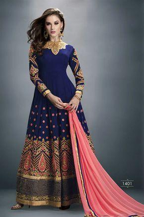Magnetic Navy Blue Color Designer #Anarkali Suit. FLAT 20% OFF by using the offer code 20OFF   Shop Now @ http://www.sanwaree.com/Buy/Magnetic-Navy-Blue-Color-Designer-Anarkali-Suit-19094