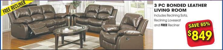 Take an advantage of Huge #SALE on the occasion of 4th Anniversary of Leon Furniture Store. Check this #LeatherLivingRoomFurniture including #RecliningSofa #RecliningLoveseat with Free #Recliner . Save 65%.