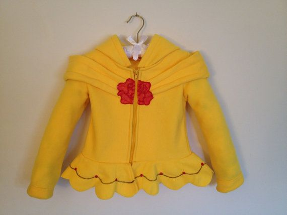 Disney Princess Beauty and the Beast Inspired Belle Fleece Girls hoodie shirt (Child sizes) via Etsy