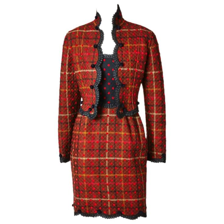 Geoffrey Beene Quilted Plaid and Polkda Dot Dress and Jacket Ensemble | From a…