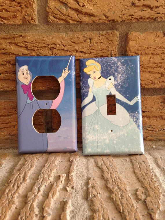 Cinderella and Fairy Godmother light switch cover and electrical cover. The photo came from a Disney Cinderella book. The plates were made