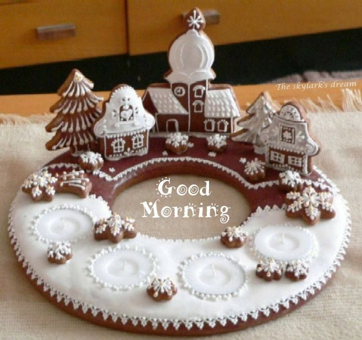 Ginger bread wreath with 3-D village powdered sugar snow