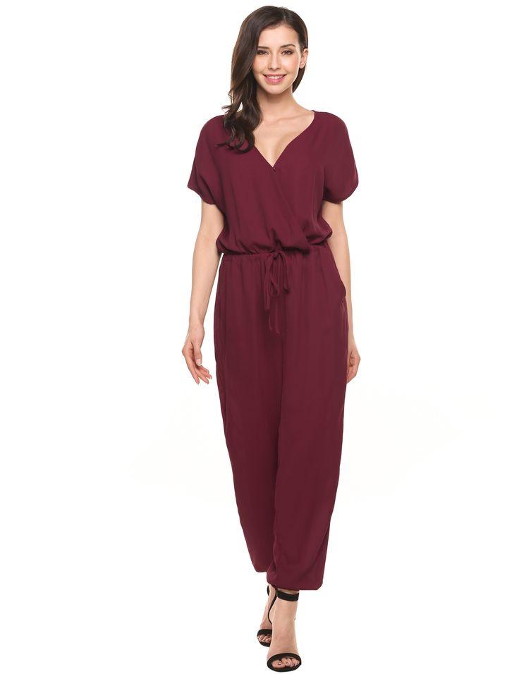 Wine red V-Neck Short Sleeve Solid Chiffon Drawstring Jumpsuit with Pockets dresslink.com