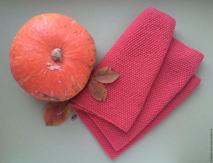 Купить Шарф Дары осени - коралловый, шарф, шарф женский, шарф вязаный