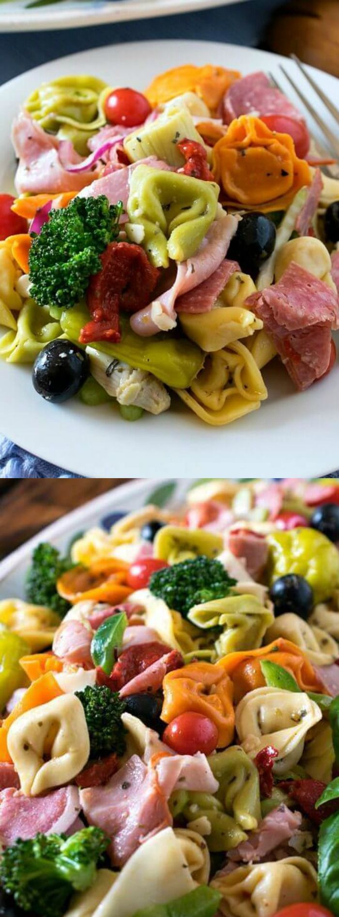 This delicious Italian Tortellini Salad recipe from A Family Feast should definitely make a regular appearance on the menu at your summer parties!  It's the perfect side dish to serve alongside any grilled foods like burgers, hot dogs, steak or chicken… and it's EASY to make too!