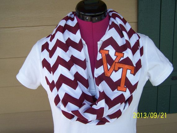 Virginia Tech Maroon & White Game Day Chevron Infinity Scarf  Knit Jersey on Etsy, $28.00