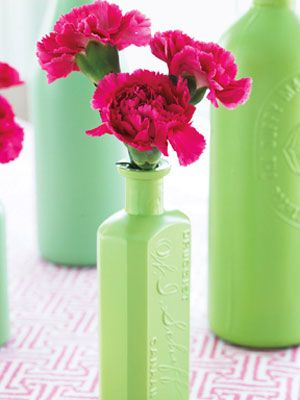 More spray painted bottles... love this idea!