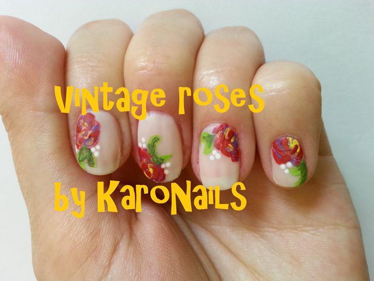 Vintage Roses nail art by KaroNails