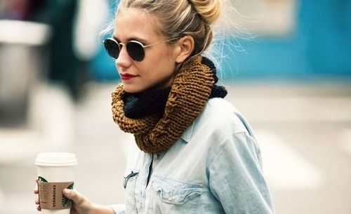 Hand knit cowl neck infinity scarves are perfect for a latte run