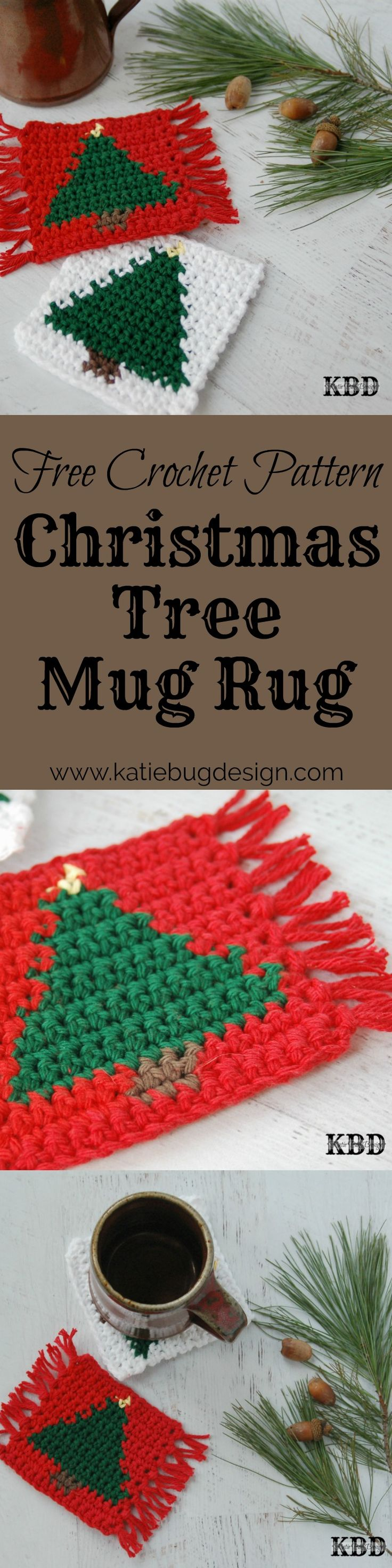 Need a quick and easy holiday gift idea? Check out this free Christmas Tree Mug Rug pattern via Katie Bug Design