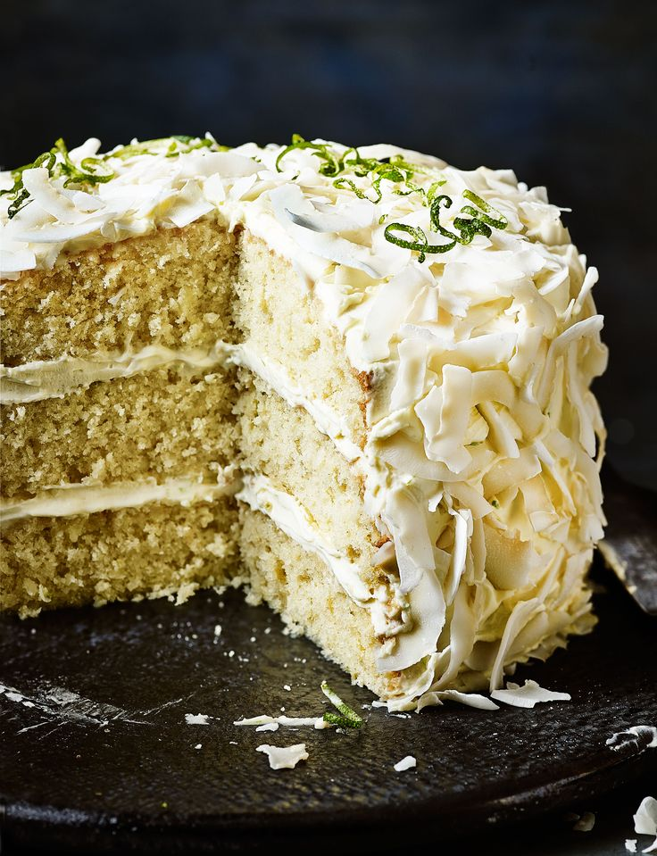 Lime and coconut triple layer cake - Sainsbury's Magazine