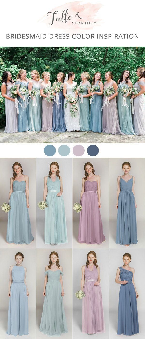 shades of blue and lavender bridesmaid dresses