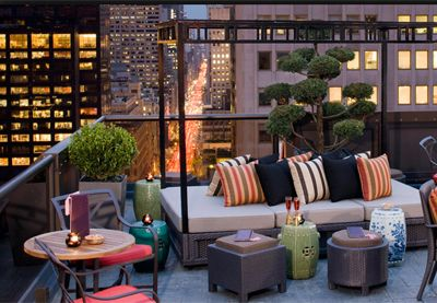 Rooftop lounge with vibrant colors