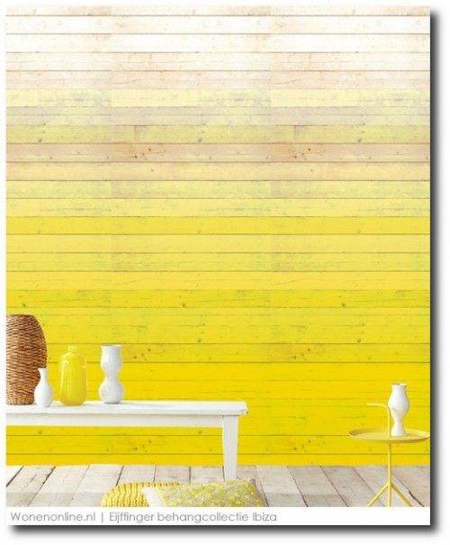 Color Blocked Painted Wood Slats. Would be a great installation to bring in subtle bold color