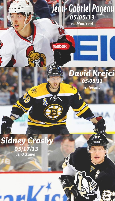 2013 Stanley Cup Playoffs hat tricks. (so far.) (Tumblr source - dougthethughamilton)
