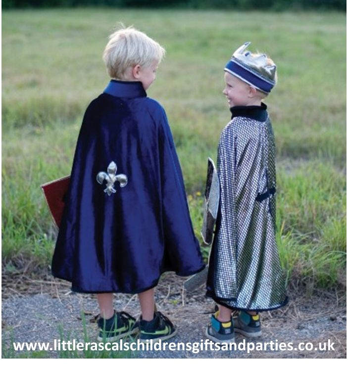 Regal King or valiant Knight....the choice is up to you with this fantastic reversible cape.  £28.00 http://www.littlerascalschildrensgiftsandparties.co.uk/#!knights-and-dragon-fancy-dress-costumes/c1tyt