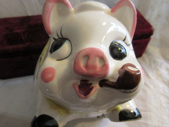 pipe smoking pig piggy bank pig wearing tam shamrocks