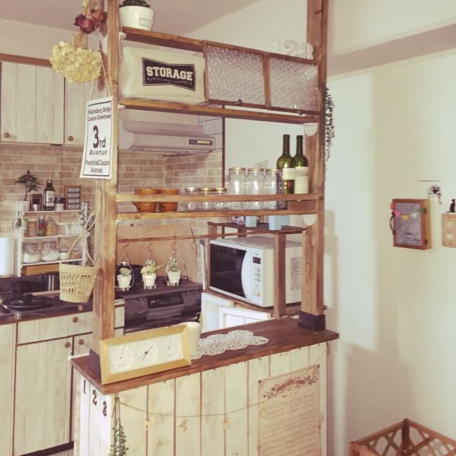 ktminさんの、ディアウォール,100均,ナチュラル,キッチンカウンター,DIY,セリア,キッチン,のお部屋写真