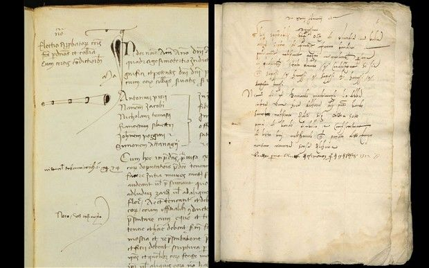 """Briton finds 500-year-old arrest warrant for Machiavelli. A British academic has stumbled upon a 500-year-old """"most wanted"""" notice for the arrest of Niccolo Machiavelli, the infamous Renaissance political operator who wrote The Prince.   Drawing of the trumpet used by the town crier, left, was found together with the proclamation calling for the arrest of Machiavelli Photo: University of Manchester."""