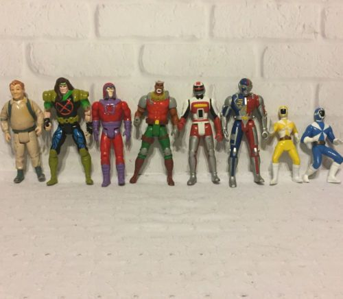 Action-Figure-Lot-Set-of-8-Ghostbusters-Power-Rangers-Magneto-and-more