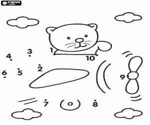 Zoek uit waar de beer is de puntjes mee kleurplaat