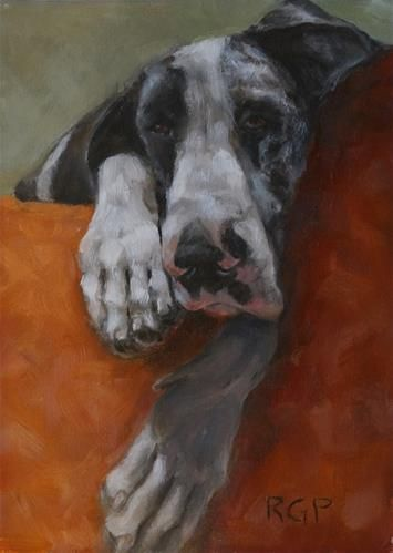 "Daily Paintworks - ""Ella, the Sleepy Great Dane"" - Original Fine Art for Sale - © Rhea Groepper"