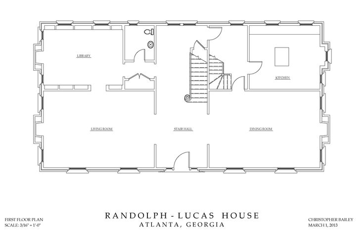 First floor plan drawing randolph lucas house Floor plan drawing