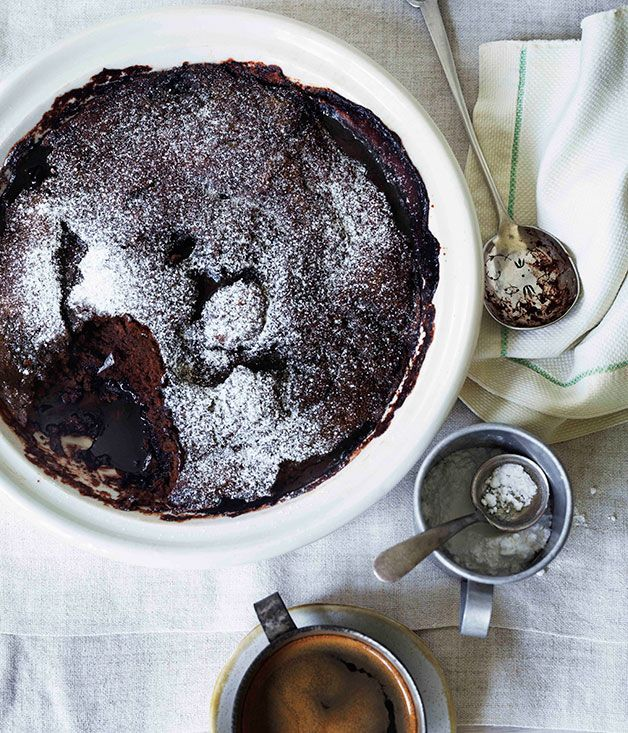 Australian Gourmet Traveller recipe for self-saucing chocolate and almond milk pudding.
