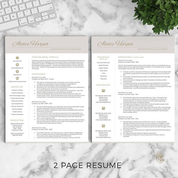Administrative Assistant Resume Template for Word and Pages *While - administrative professional resume