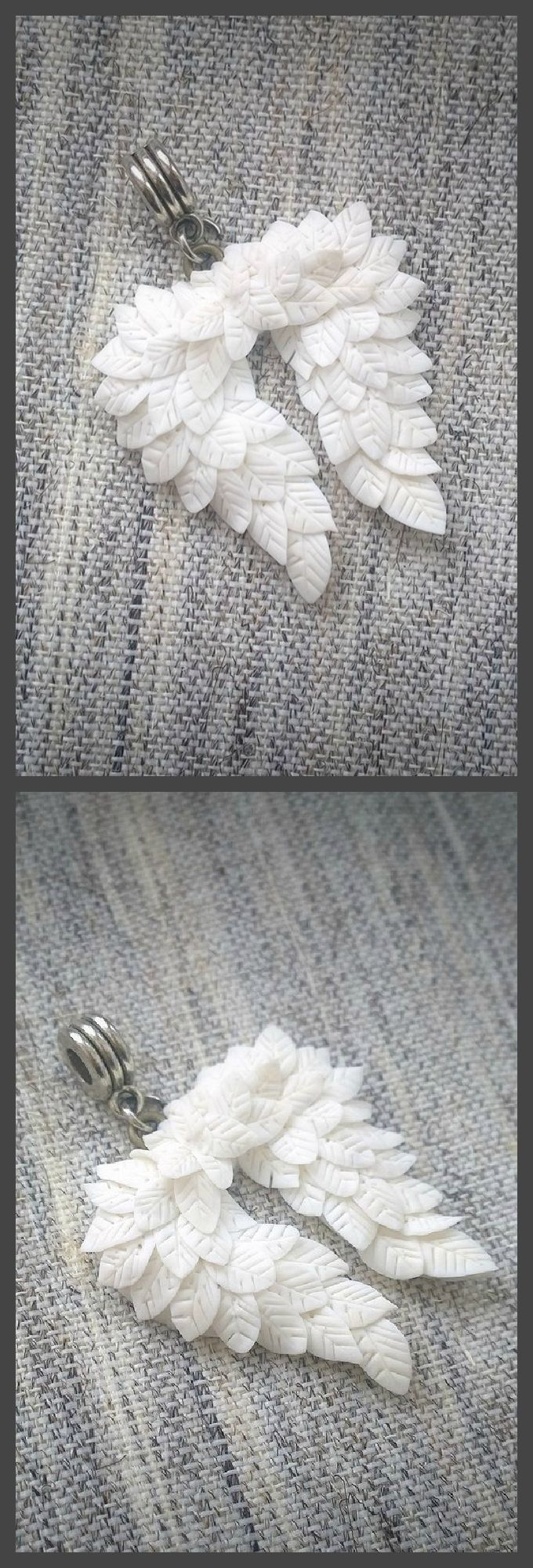 #polymerclay #angelwings #white  #полимернаяглина #хобби #handmade #polymerclay  #fimo #fimoclay #premo #sculpey  #craft # #clay #лепка #angel #silverushka #jewelry #charm