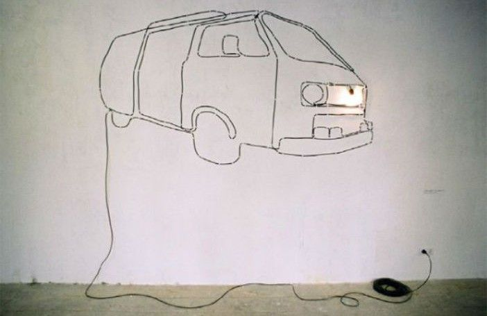 Creative with your cables. Artwork with cables. Check this car. Art