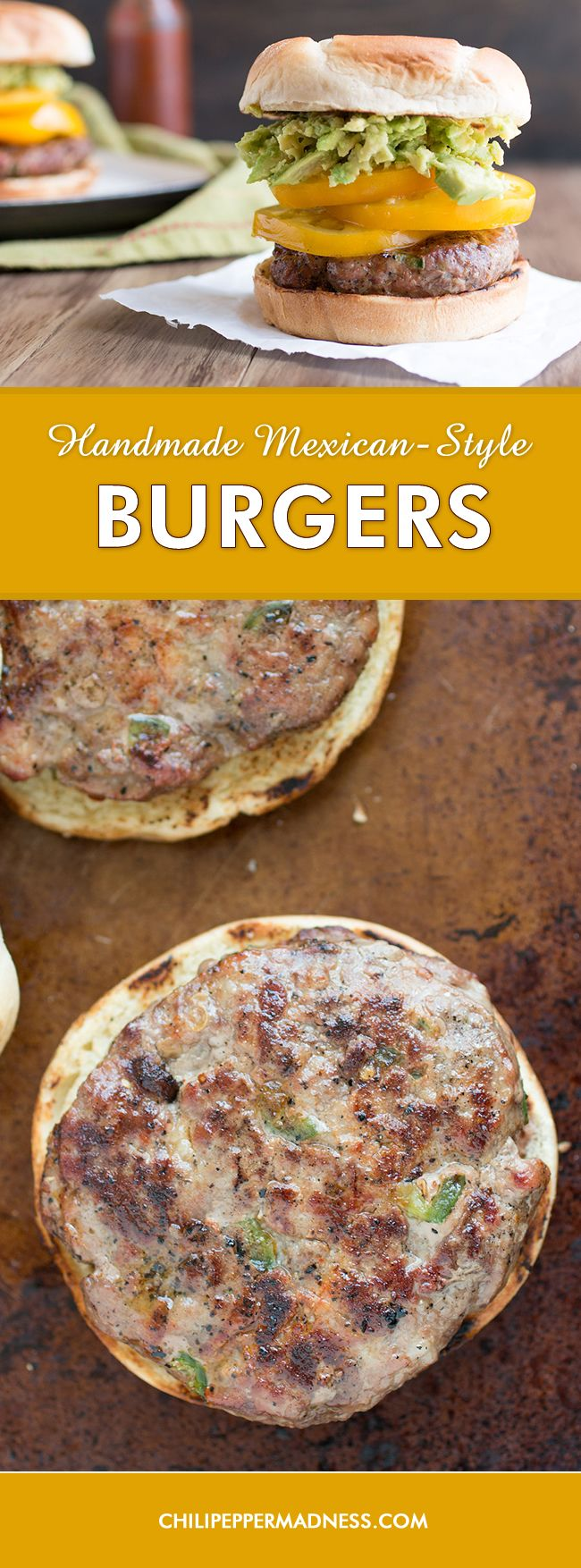 Handmade Mexican-Style Burgers - A recipe for juicy burgers made from scratch with ground pork, ground beef, jalapeno and serrano peppers, and plenty of seasonings. Completely handmade. Fire up the grill and get cooking!