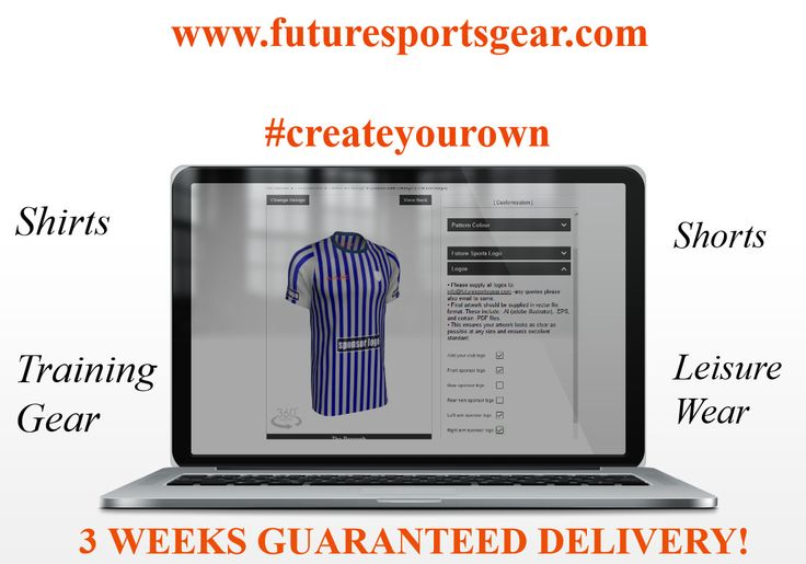 Future for Football! Modern designs all on our #createyourown section-#sponsors #names etc #nolimits #topfabrics