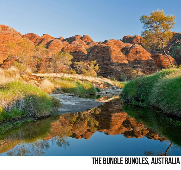 """The Bungle Bungle Range, in Purnululu National Park in Western #Australia, is an example of reduplication, a common theme in Australian toponymy. Reduplication is often used as an intensifier; for example, """"Wagga Wagga"""" means """"many crows,"""" and """"Coomoo Coomoo"""" means """"much water."""" """"Bungle Bungle"""" comes from the name of a grass that's common to the Kimberley region of Australia."""