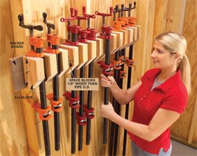 Rack makes storing and grabbing easy: Garage Organization, Workshop Storage, Tool Storage, Workshop Ideas, Store Clamps, Garage Ideas, Family Handyman