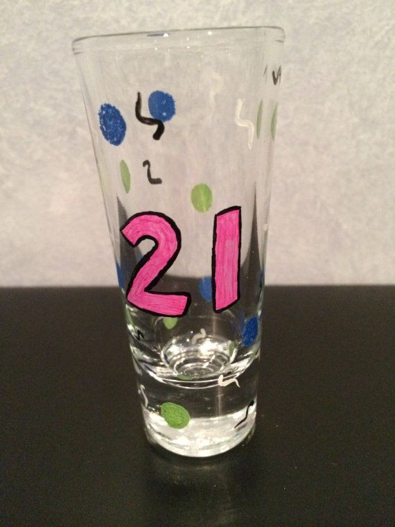 21 Hand Painted Shot Glass Birthday Decor 21 by LiveLaughLooloo, $7.00