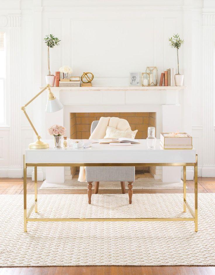 Daily find white lacquer desk home office decor gold desk