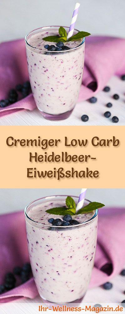 Heidelbeer-Eiweißshake selber machen - ein gesundes Low-Carb-Diät-Rezept für Frühstücks-Smoothies und Proteinshakes zum Abnehmen - ohne Zusatz von Zucker, kalorienarm, gesund ...